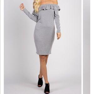 Pinkblush Pinstripe Off The Shoulder Ruffle Dress